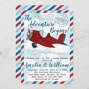Airplane Plane Baby Shower Invitation Invite