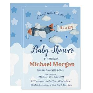 Airplane Stars Clouds It's a BOY Baby Shower Invitation