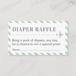 Airplane Travel Diaper Raffle Ticket Baby Shower Enclosure Card