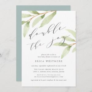 Airy Botanical Twin Baby Shower Invitation