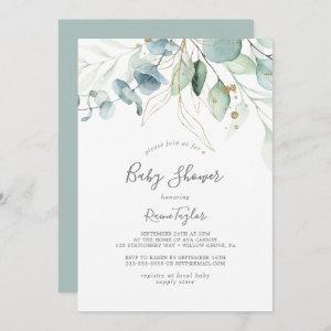 Airy Greenery and Gold Leaf Baby Shower Invitation