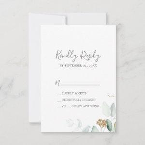 Airy Greenery and Gold Leaf Simple RSVP Card