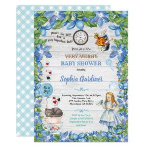 Alice in Wonderland baby BOY shower invitation