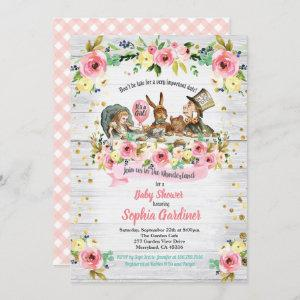 Alice in Wonderland baby girl shower invitation