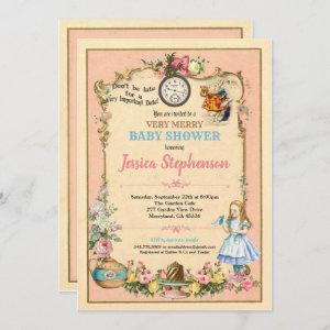 Alice in Wonderland baby shower invitaion pink Invitation