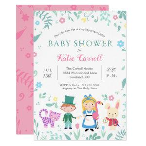 Alice in Wonderland Baby Shower Invitations | Pink