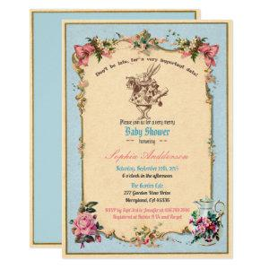 Alice in Wonderland Baby Shower Sip and See blue Invitation