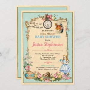 Alice in Wonderland baby shower turqoise teal