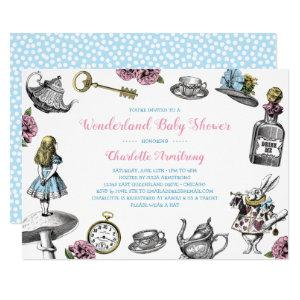 Alice in Wonderland Blue Polka Dot Baby Shower Invitation