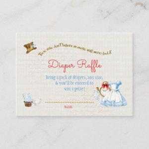 Alice in Wonderland Diaper Raffle Thank You Gift Enclosure Card