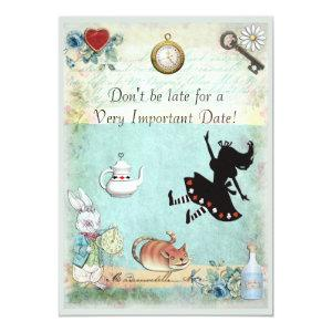Alice in Wonderland Don't Be Late Baby Shower Invitation