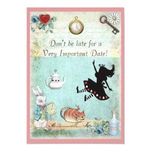 Alice in Wonderland Don't Be Late Baby Shower Pink Invitation