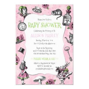 Alice in Wonderland Pink Baby Shower Invitation