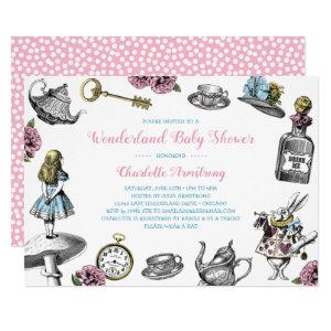 Alice in Wonderland Polka Dot Baby Shower Invitation