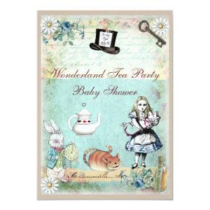 Alice & the Cheshire Cat Wonderland Baby Shower Invitation