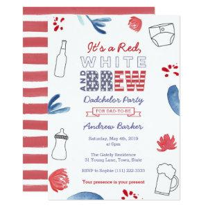 All-American Dadchelor Party or Daddy Baby Shower Invitation