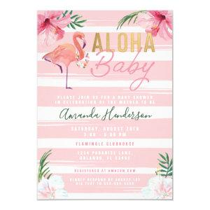 Aloha Baby Flamingo Baby Shower Invitation, Invitation