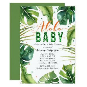 ALOHA BABY Shower Tropical Leaves Orange & Green Invitation