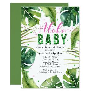 ALOHA BABY Shower Tropical Leaves Pink & Green Invitation