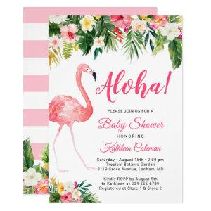 Aloha Luau Baby Shower Tropical Floral Flamingo Invitation