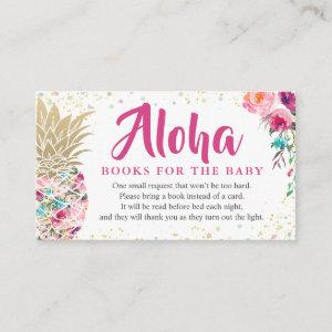 Aloha Pink Pineapple Baby Shower Book Request Enclosure Card