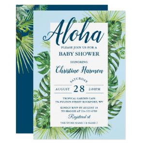 Aloha Tropical Greenery Blue Baby Shower Invitation