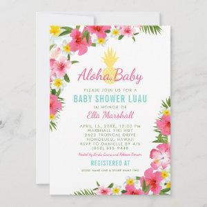 Aloha Tropical Pink Floral Pineapple Baby Shower