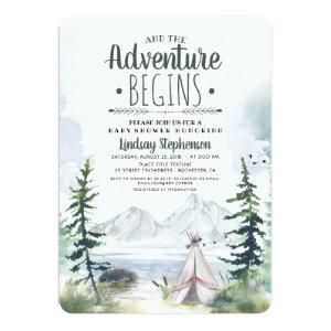 And The Adventure Begins Mountains Baby Shower Invitation