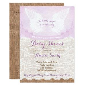 angel baby shower invitations, lilac baby shower invitation
