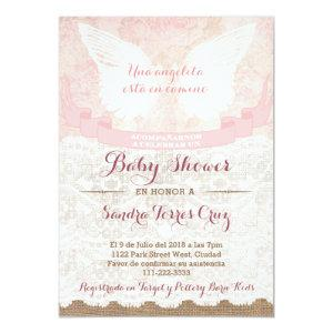Angel Pink Baby Shower Invite for Latina Lady