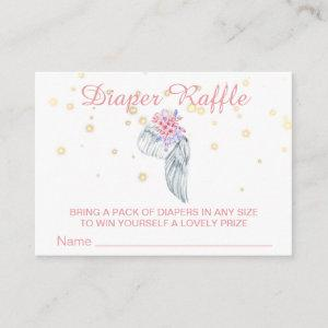 *~* Angel Wing Crystal Feathers Girl Diaper Raffle Enclosure Card
