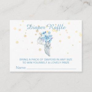 *~* Angel Wing Crystals Feathers Boy Diaper Raffle Enclosure Card