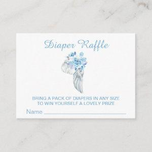 *~* Angel Wing Feathers Crystals Boy Diaper Raffle Enclosure Card
