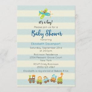 Animal Toy Train and Airplane Baby Boy Shower