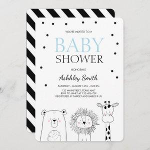 Animals Baby shower invite Zoo Safari Blue Modern