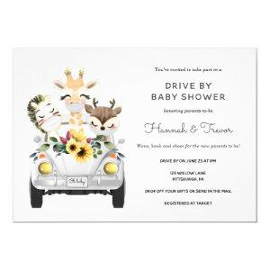 Animals Drive By Baby Shower Parade Invitation