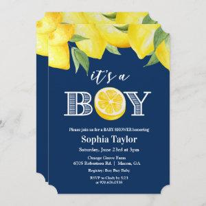 ANY COLOR - Boy Lemon Baby Shower Invitation
