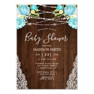 Aqua Mint Rustic String Lights Floral Baby Shower Invitation