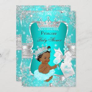 Aqua Teal Blue Princess Baby Shower Ethnic Invitation