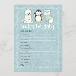 Arctic Winter Animals Wishes For Baby Shower Game