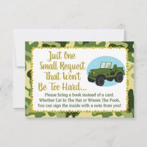 Army Camo Baby Shower Bring A Book Card