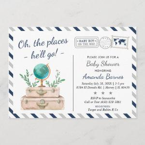 Around the World Travel Adventure Baby Boy Shower Invitation