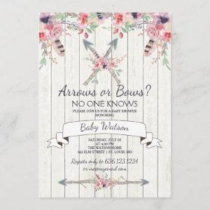 Arrows or Bows No One Knows Baby Shower Invitation