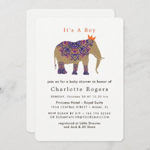 Autumn Fall Rustic Color Cute Elephant Baby Shower Invitation