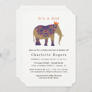 Autumn Fall Rustic Color Cute Elephant Baby Shower