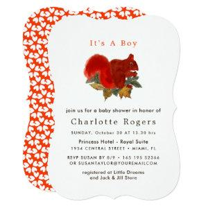 Autumn Fall Rustic Cute Squirrel Babyshower Invitation