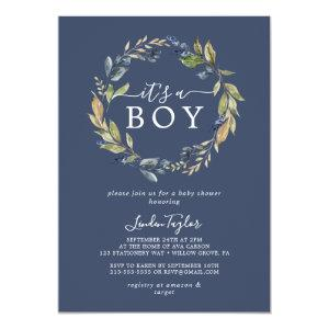 Autumn Greenery | Navy It's A Boy Baby Shower Invitation
