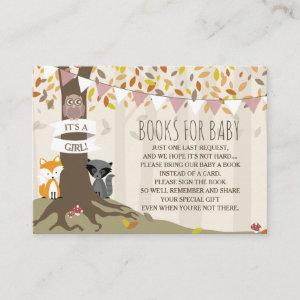 Autumn Woodland Creatures Baby Girl Book Request Enclosure Card