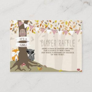 Autumn Woodland Creatures Baby Girl Diaper Raffle Enclosure Card