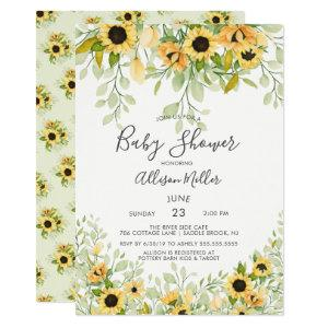 Autumn Yellow Sunflower Floral Baby Shower Invitation